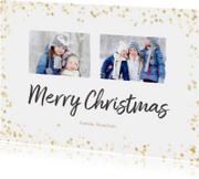 Kerstkaarten - Kerstkaart liggend gouden confetti - BK