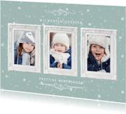 Kerstkaarten - Kerstkaart met 3 klassieke witte fotolijstjes