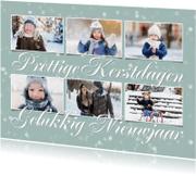 Kerstkaarten - Kerstkaart met 6 foto's op een zachte achtergrond en sterren