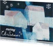 Kerstkaarten - Kerstkaart sneeuw huizen