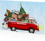 Kerstkaarten - Kerstkaart verhuisbus av