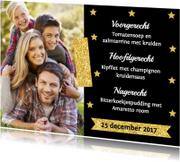 Menukaarten - Kerstmenukaart foto sterren goud - LB