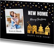 Kerstkaarten - Kerstverhuiskaart foto confetti huisjes goud - LB