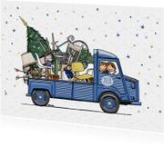 Kerstkaarten - Kerstverhuiskaart HY busje blauw av