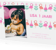 Kinderfeestjes - Kinderfeestje kaart met feestende flamingo's en foto