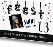 Kinderfeestjes - Kinderfeestje meisje confetti fotokaart met slinger