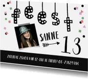 Kinderfeestje meisje confetti fotokaart met slinger