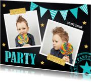 Kinderfeestjes - Kinderfeestje slinger krijtbord jongen slinger sterren