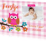 Kinderfeestjes - Kinderfeestje uiltje roze meisje foto