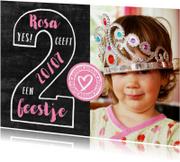 Kinderfeestjes - Kinderfeestje uitnodiging 2 jaar foto meisje