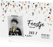 Kinderfeestje uitnodiging confetti goud feest