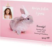 Kinderfeestje uitnodiging - Eenhoorn konijntje roze