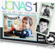 Kinderfeestjes - Kinderfeestje uitnodiging foto Jonas