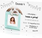 Kinderfeestjes - Kinderfeestje - Uitnodiging konijn fotolijstje