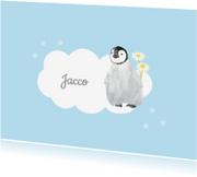 Rouwkaarten - Kinderrouwkaart jongen pinguin