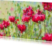 Bloemenkaarten - klaprozen enkele kaart