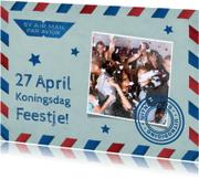 Uitnodigingen - Koningsdag Feestje Luchtpost
