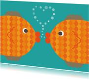 Dierenkaarten - kussende vissen