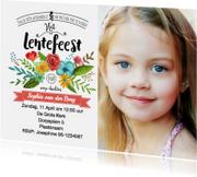 Communiekaarten - Lentefeest Uitnodiging Bloemen