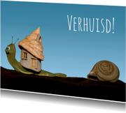 Verhuiskaarten - Leuk slakje met nieuw huis