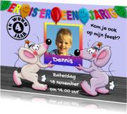 Kinderfeestjes - Leuke uitnodiging 2 Muizen dragen foto
