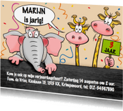 Kinderfeestjes - Leuke uitnodiging olifant en giraffen voor feestje