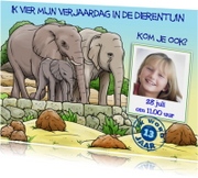 Kinderfeestjes - Leuke uitnodiging verjaardagsfeest  dierentuin en olifanten