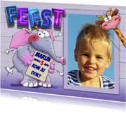 Kinderfeestjes - Leuke uitnodiging voor kinderfeest olifant, giraf en foto