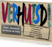 Verhuiskaarten - Leuke verhuisbericht met gekleurde letters op houtprint