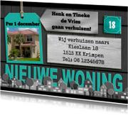 Verhuiskaarten - Leuke verhuisbericht met huisjes in mintkleur en eigen foto