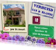 Verhuiskaarten - Leuke verhuiskaart foto woning op wit steigerhout
