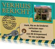 Verhuiskaarten - Leuke verhuiskaart in de kleuren groen en geel met foto