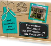 Verhuiskaarten - Leuke verhuiskaart met touw op verhuisdoos en eigen foto