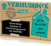 Verhuiskaarten - Leuke verhuiskaart met touw op verhuisdoos van karton