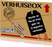 Verhuiskaarten - Leuke verhuiskaart verhuisbox met labels op verhuisdoos