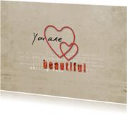 Liefde kaarten - Liefde Kaart Beautiful Hartjes