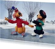 Kerstkaarten - Loeki de Leeuw en Roos schaatsen