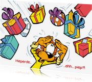 Verjaardagskaarten - Loeki de Leeuw kado regen