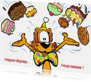 Verjaardagskaarten - Loeki de leeuw taarten regen