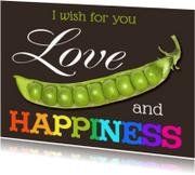 Ansichtkaarten - love peas  happiness