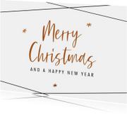 Kerstkaarten - Moderne kerstkaart  met bronskleurige teksten en sterren
