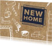 Felicitatiekaarten - New Home met klus tekeningen