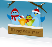 Nieuwjaarskaarten - nieuwjaar vogels op bord - DD