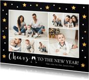 Nieuwjaarskaarten - Nieuwjaarskaart fotocollage zwart sterren goud