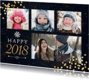 Nieuwjaarskaart met gouden confetti en 4 foto's