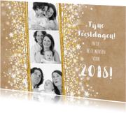 Nieuwjaarskaarten - Nieuwjaarskaart stijlvol foto kraft romantisch