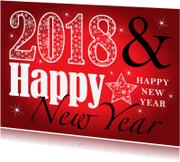 Nieuwjaarskaarten - Nieuwjaarskaart typografie rood 2018