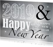 Nieuwjaarskaart typografie zilver design