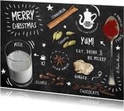 Kerstkaarten - Recept op krijtbord