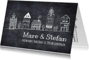 Verhuiskaarten - Rij huisjes op krijtbord